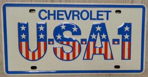Chevrolet Original Vintage Green Steel Back USA-1 License Plate Chevrolet