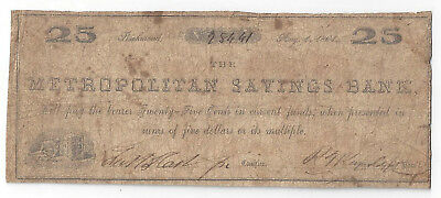 1861 Metropolitan Savings Bank Of Richmond Twenty Five Cent Note   01102