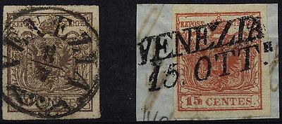 LOMBARDEI-VENETIEN 1850 2Marke:-30C, RANDDRUCK! -15C, HOHLDRUCK! VENEZIA