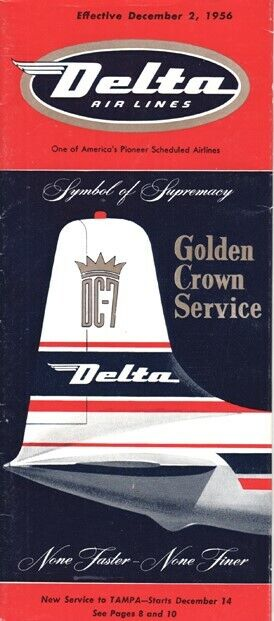 Delta Air Lines timetable 1956/12/02