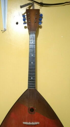 Vintage Russian Balalaika 6 String Wooden Instrument, Pleasant sound USSR period