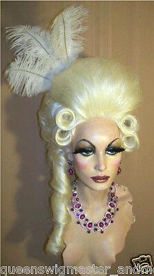 Ziehen Sie Perücke Kostüme Groß Casanova Hell Weiß Blond Pompador & Schwanz Und