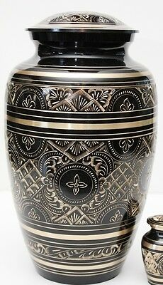 BLACK & GOLD HUMAN ADULT CREMATION URN, NEW FUNERAL ASH URNS
