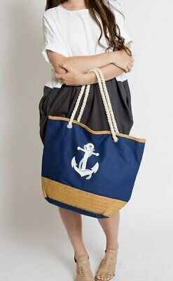 Large Summer Tote Bags with Zipper Closure Shoulder Bag For Beach Nautical