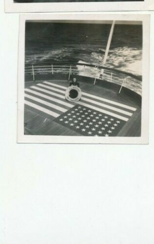 WWII Oct 1942 gal SS Monterey flag painted on deck for airplanes Hawaii photo