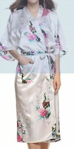 Women's Silk Robes Peacock and Blossoms Kimono
