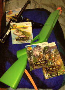 Wii hunting and fishing game with fishing rod and rifle
