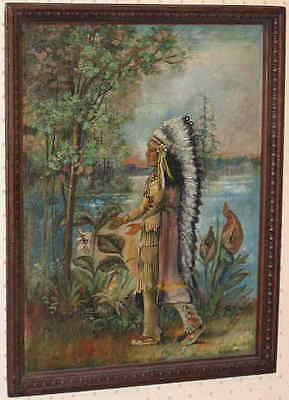Antique Oil Painting Native Indian Cheif Fire Heart In Full Headdress Signed !