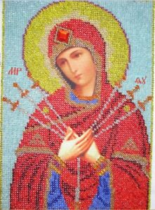 Russian icon  of beads. Mother of God of Seven Arrows.