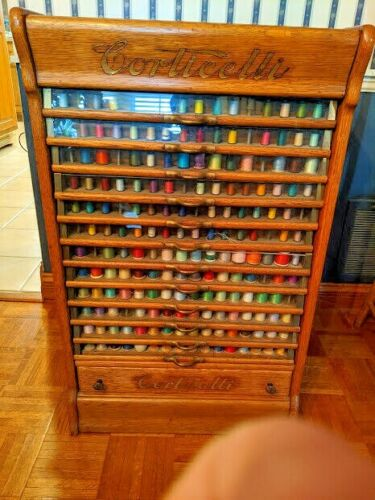 Fabulous Corticelli Spool Thread Display Advertising Store Oak Cabinet 13 Drawer