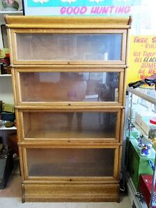Beautiful Antique Light Oak 4 Section Barrister's Bookcase
