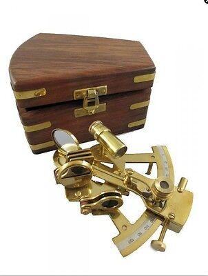Sextant maritim nautische Dekoration Messing Holzbox 5x10x12cm