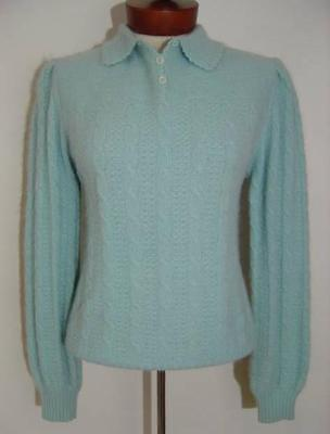 VINTAGE 1950s DALTON BABY BLUE FUZZY ANGORA CABLE KNIT ROCKABILLY PINUP SWEATER