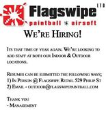 Flagswipe Paintball & Airsoft is hiring!