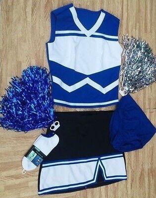REAL L BLUE BLACK Cheerleader Uniform Top Skirt Socks Poms Briefs 36-38/30-31