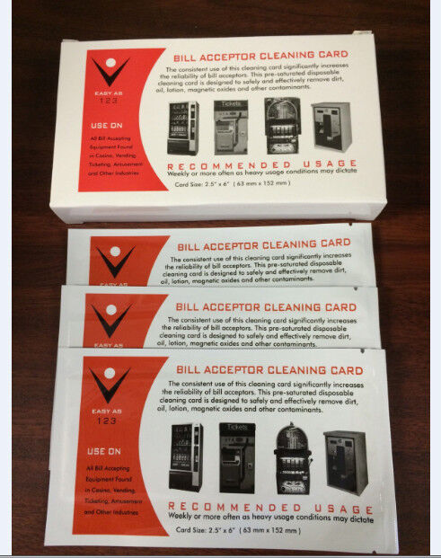 Dollar Bill Acceptor Pre-saturated Cleaning Card -ALCOHOL FREE  - 10 pack