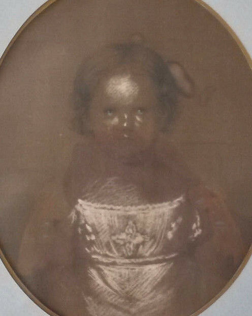 18th C. American School Pastel Portrait Painting Of A Young Girl