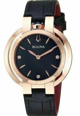 Bulova Rubaiyat Women's Quartz Diamond Accent Black Leather 35mm Watch 97P139