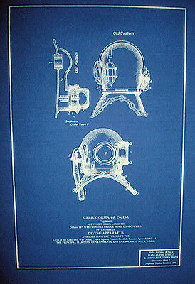 "Vintage British Navy Diving Helmet c1895 Blueprint Plan 12""x16"" (292)"