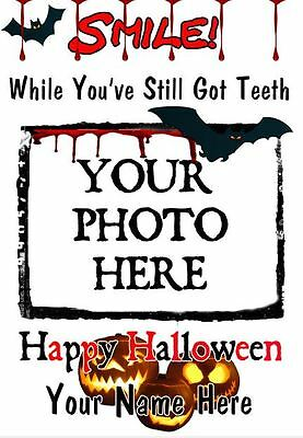 A5 Personalised Greeting Card Halloween YOUR PHOTO ADDED  Teeth smile c11 spooky