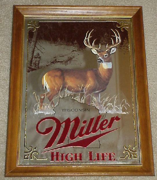MILLER BEER 1st Series BIG BUCK DEER Wildlife Hunting MIRROR (Nice+) IN BOX!!!