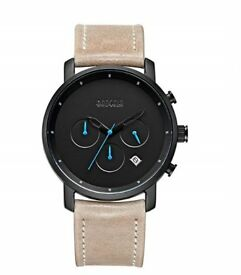 Mens Black Designer Watch ,Luxury Brown Leather Strap Mens Watches - Auto Date and Waterproof