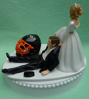 Wedding Cake Topper Philadelphia Flyers Hockey Themed Bride Unique Bride Groom's