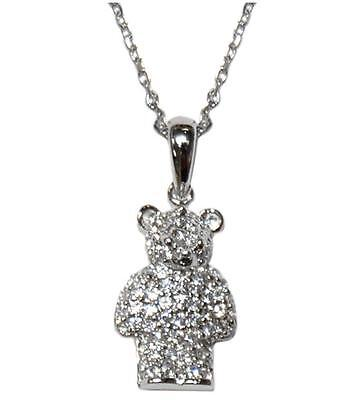 Sweet Pave Teddy Bear Clear Cubic Zirconia Pendant Necklace -23mm-16 To 18