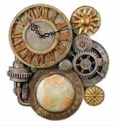 Wall Clock Design Toscano Gears of Time Steampunk Sculpture 17 Works Great #158