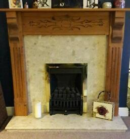 Gas fire, hearth and mantelpiece