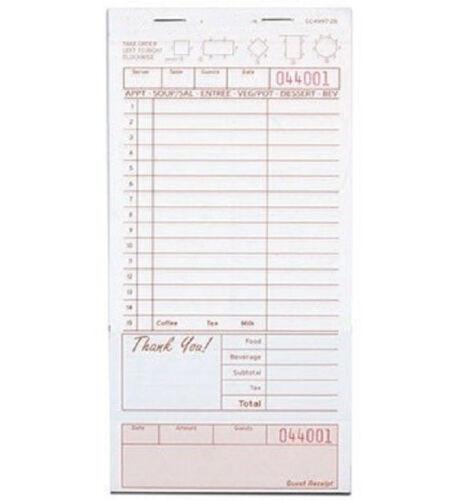 2000 CASE 2 Part Tan White Carbonless Guest Check Bottom Receipt Pad Restaurant