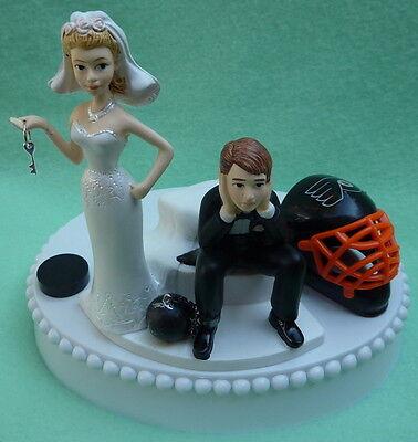 Wedding Cake Topper Philadelphia Flyers Hockey Key Theme Sports Fans Bride Groom