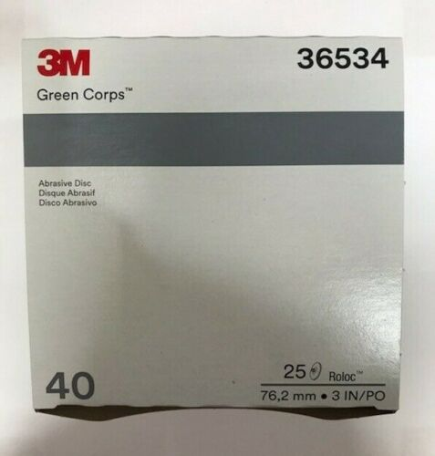 """3M Green Corps Roloc Grinding Discs 3"""" 40 Grit 3M 36534 replacement for 3M 01408"""