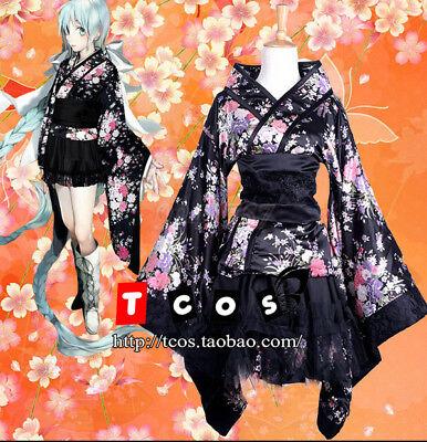 Japanische Kimono Kleid (Cosplay Japanische Kirschblütenfest Kostüme Kimono-Stil Kleid Lolita Schwarz)