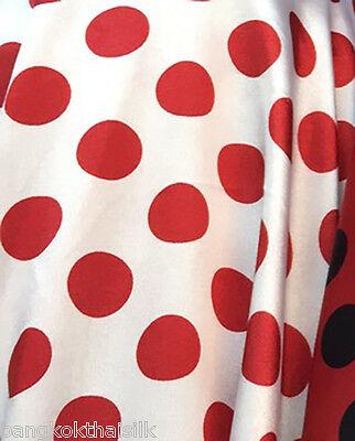 POLKA DOT White Red Faux Silk Satin 48