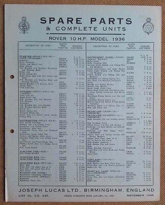 Rover 10hp model 1936   Lucas Parts List 229