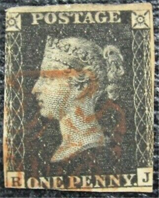 nystamps Great Britain Stamp # 1 Used $320   L16x1716