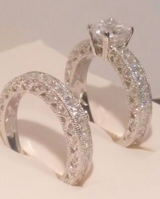 - Diamond Engagement Ring Wedding band set Antique White Gold Platinum Finish