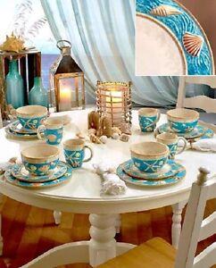 Casual Dinnerware Cottage Seashell Nautical Dishes Beach Dinner Plates Bowls Mug