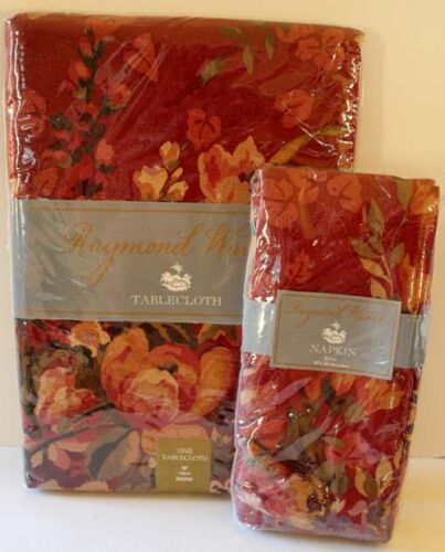 Raymond Waites Tablecloth Napkins Set Floral Brick Red