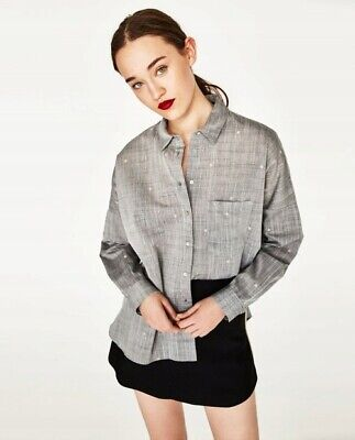 Zara Womens Button Up Shirt Stars Embroidered Grey/Pink XS