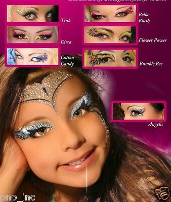 Girls Easy Glitter Eye Makeup Kit/Set Costume Easy Sticker Halloween Reusable US