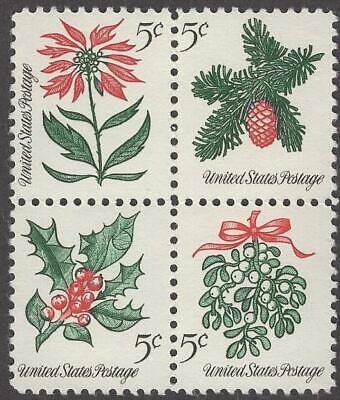Scott # 1254-1257 - US Block Of 4 - Christmas Flowers - MNH -1964