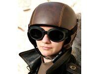 SAME STYLE DIFFERENT SHADE (CREAM) VINTAGE MOTO/PARACHUTING/HAND GLIDING HELMET (L)