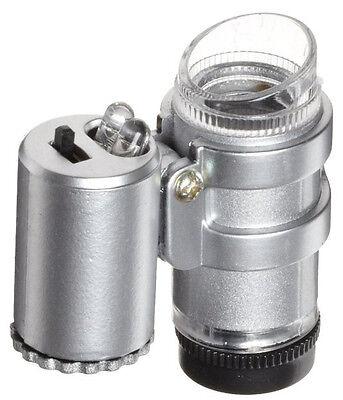 - 45X Microscope Magnifier Mini Jewelers Loupe Ultra Violet Light LED Bulbs UV