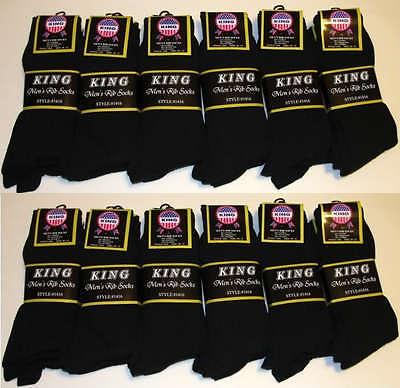 12 Pairs Mens KING Premium COTTON Ribbed Dress Socks 10-13 All Black #1416