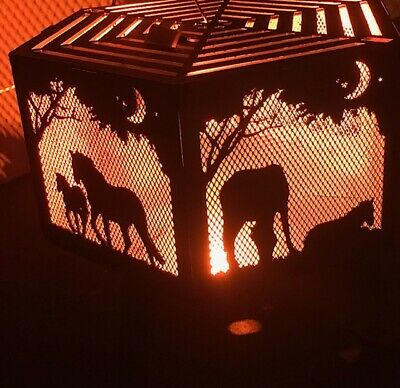 Horse and foal hexagonal fire pit with top grill.