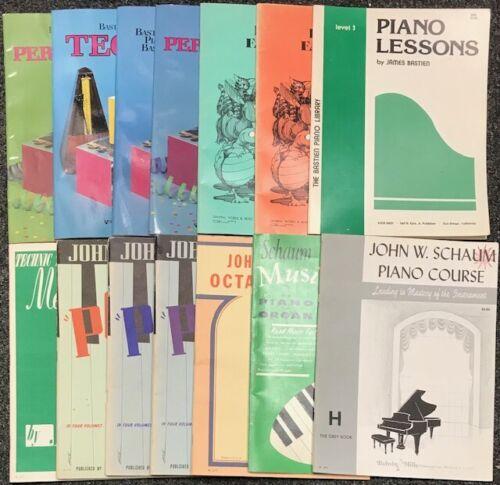 LOT OF 14 PIANO LESSON BOOKS SCHAUM & BASTIEN