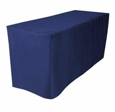 8 Ft. Fitted Polyester Tablecloth Trade Show Booth Wedding Dj Table Cover Navy