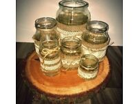 36 lace and hessian glass jar table decoration wedding party